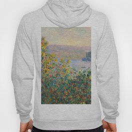 1881-Claude Monet-Flower Beds at Vétheuil-73 x 92 Hoody