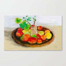 Watercolor Still Life with Mangoes and Apples Canvas Print