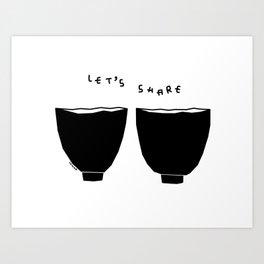 Let's Share Soup, Love, Smiles - Kitchen Illustration Art Print