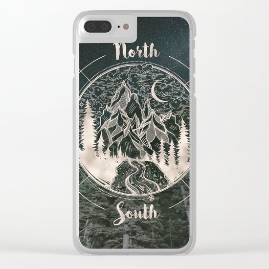 Mountains Compass Milky Way Woods Gold Clear iPhone Case
