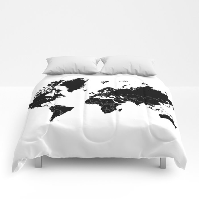 Minimalist World Map Black on White Background Comforters
