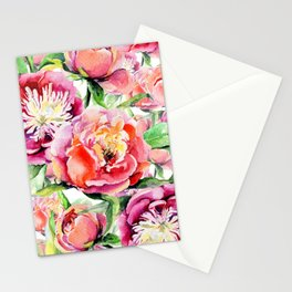 Blush pink orange green hand painted watercolor floral Stationery Cards