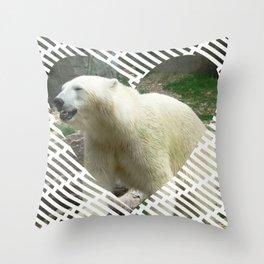 Polar Baer in heart shape Throw Pillow