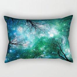 Black Trees Teal Green Space Rectangular Pillow