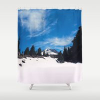 robin hood Shower Curtains featuring Mt. Hood by Leah Flores