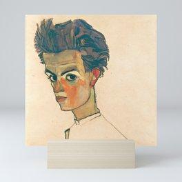 "Egon Schiele ""Self-Portrait with Striped Shirt"" Mini Art Print"