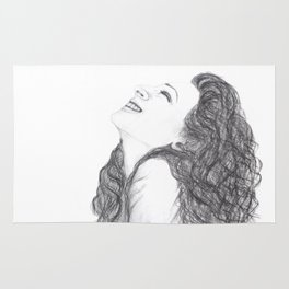 Tell Me Something Good in B/W - Expressions of Happiness Series - Black and White Original Drawing Rug