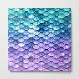 Mermaid Ombre Sparkle Teal Blue Purple Metal Print