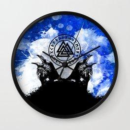 Huginn and Muninn Odin's Ravens Blue Splatter Wall Clock