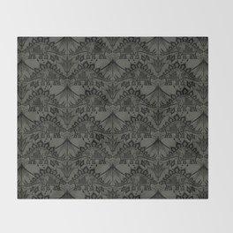 Stegosaurus Lace - Black / Grey Throw Blanket