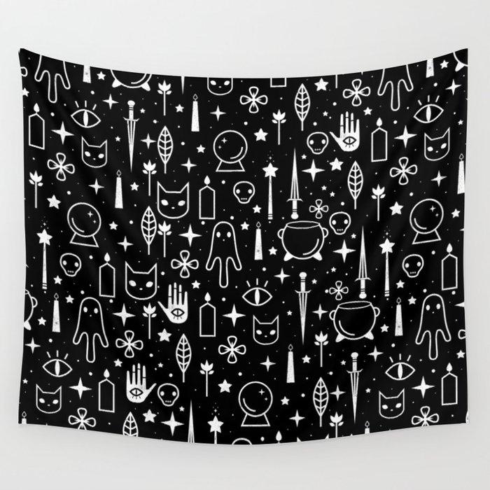 Spirit Symbols Black Wall Tapestry