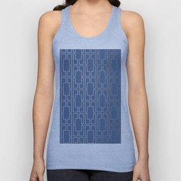 Simply Mid-Century in White Gold Sands and Aegean Blue Unisex Tank Top