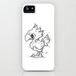 Chocobo Handmade Drawing, Made in pencil and ink, Tattoo Sketch, Final Fantasy Art iPhone Case