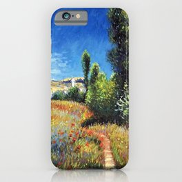 Red Poppies and Landscape on the Ile Saint-Martin by Claude Monet iPhone Case