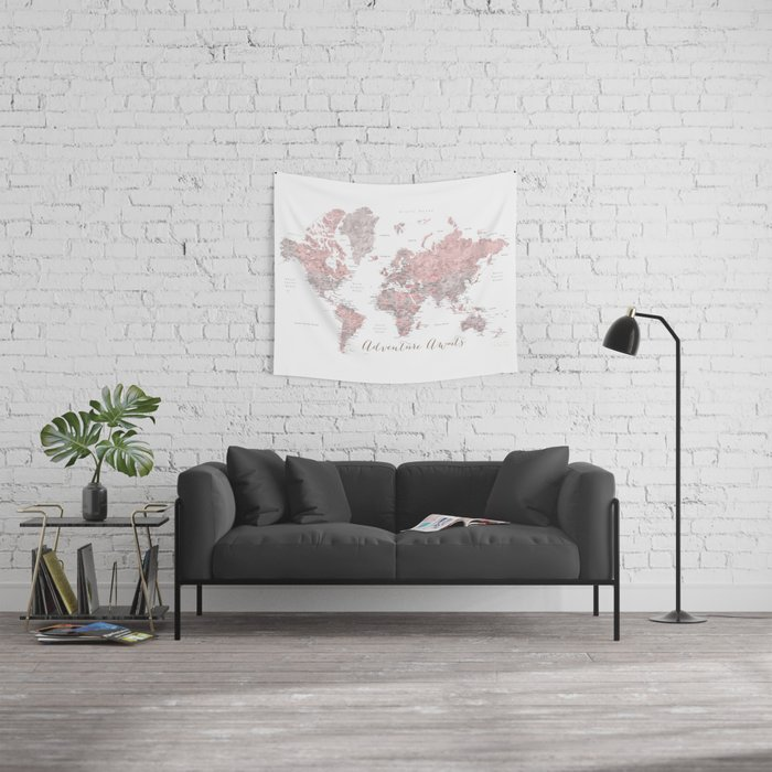 World map in dusty pink & grey watercolor, Adventure awaits Wall Tapestry