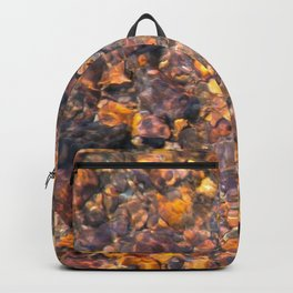 Clear Water Flows Over Golden Brown Pebbles Stream Abstract Backpack
