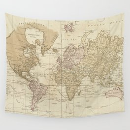 Vintage Map of The World (1775) 4 Wall Tapestry
