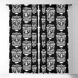 Tiki Pattern Black & White Blackout Curtain
