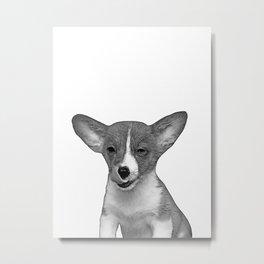 b&w winking puppy Metal Print