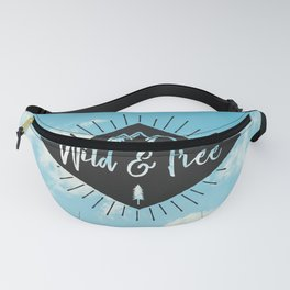 Wild And Free - Black on Blue Sky Fanny Pack