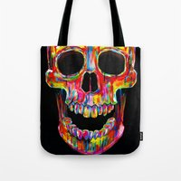 skull Tote Bags featuring Chromatic Skull by John Filipe