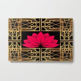 Art Deco Retro Lotus (amaranth-black) Metal Print