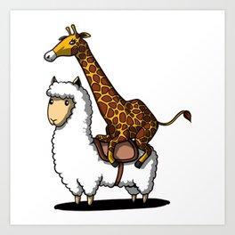 Funny Giraffe Riding A Lllama Cute Alpaca Art Print