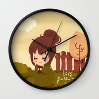 jane austen Wall Clocks featuring Jane Austen - Lizzy Bennet by Vale Bathory