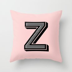 Letter Z in Pink Throw Pillow