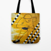 pivot Tote Bags featuring Bronx Gridlock by JezRebelle