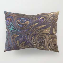 Fractal Art with Purple and Aqua Twirls and Marbling Swirls of Bronze, Gold and Copper Pillow Sham