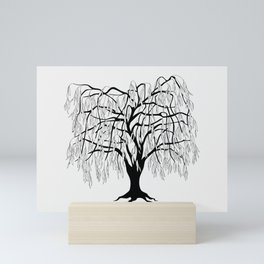 weeping willow on the gray background Mini Art Print
