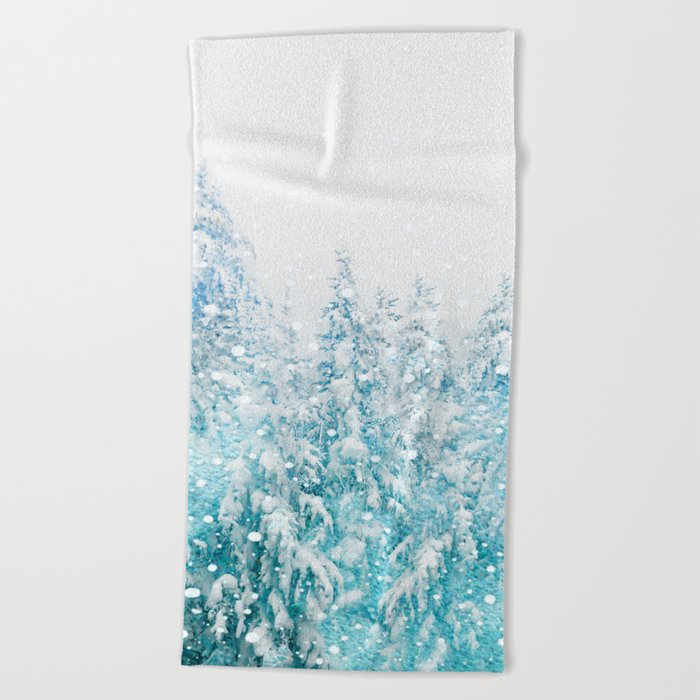 Snowy Pines Beach Towel