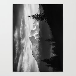 Mount Shasta Morning in Black and White Poster