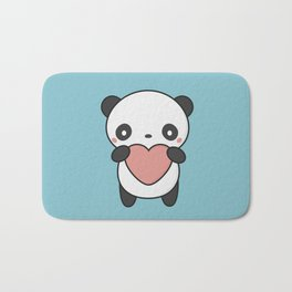 Kawaii Cute Panda With A Heart Bath Mat