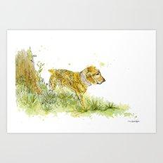Dog Strolling Art Print