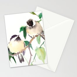 Chickadees, birds on tree, bird design neutral colors Stationery Cards