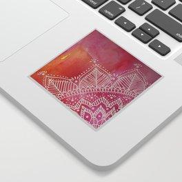 Mandala flower on watercolor background - pink Sticker