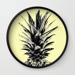 Pineapple in yellow Wall Clock