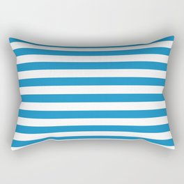 Sea Breeze Medium Blue and White Horizontal Stripes Rectangular Pillow