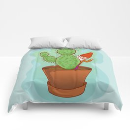 fairytale dwarf with cactus Comforters