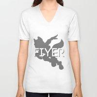 starfox V-neck T-shirts featuring FIYER by Kieran Bird
