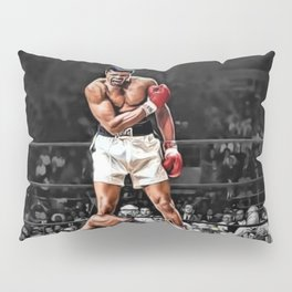 Mama Said I'm Gonna Knock You Out - Ali Knocks out Liston B&W over Color Painting Pillow Sham