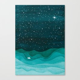 Starry Ocean, teal sailboat watercolor sea waves night Leinwanddruck
