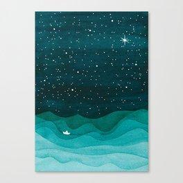 Starry Ocean, teal sailboat watercolor sea waves night Canvas Print