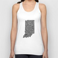 indiana Tank Tops featuring Typographic Indiana by CAPow!