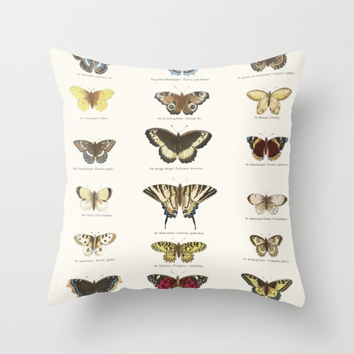 Vintage Butterfly Chart Throw Pillow