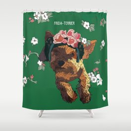 Frida-Terrier Shower Curtain