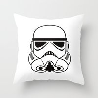 stormtrooper Throw Pillows featuring stormtrooper by Vreckovka