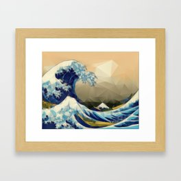 The Great Wave Off Kanagawa in Triangles Framed Art Print